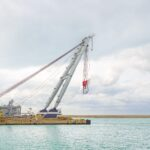 Quay Port Crane for industrial container, cargo, ship or boat.